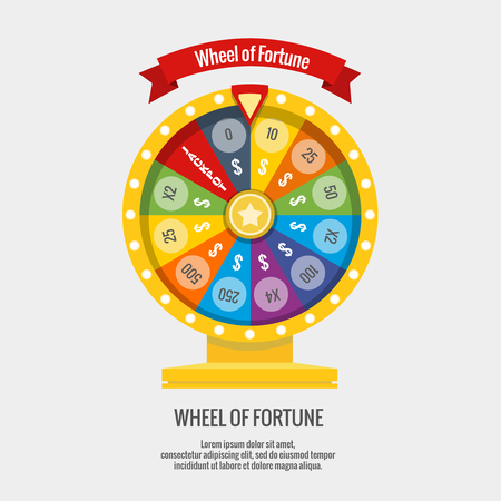 wheel of fortune: Fortune spinning wheel in flat vector style. Gambling concept, win jackpot in casino illustration
