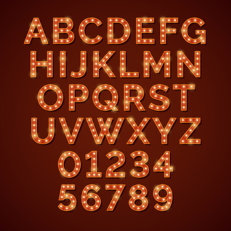 bright alphabet: Retro light bulb bright alphabet, vector font. Neon abc and numbers for cinema or nightclub illustration