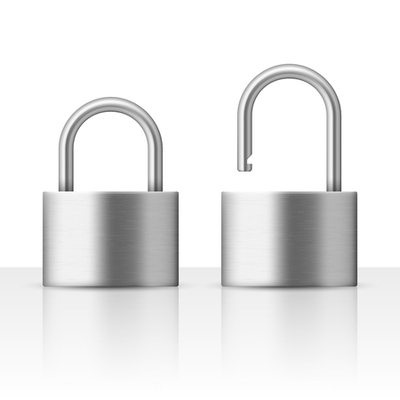 reliably: Locked and unlocked padlock vector illustration security concept. Metal lock for safety and privacy