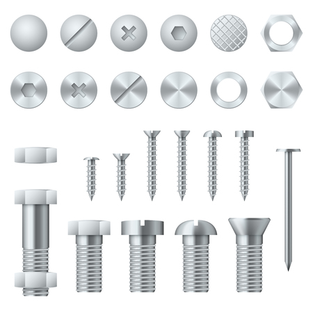 Screws, bolts, nuts, nails and rivets for fastening and fixing. Vector illustration design elements Ilustração