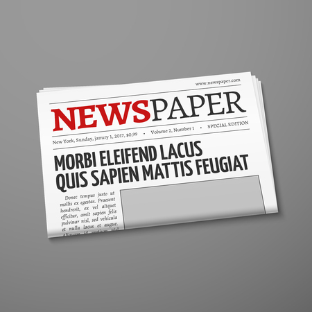 tabloid: Realistic vector daily newspaper front page. Weekly tabloid with information illustration