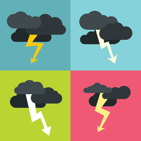 hilly: Thunderclouds flat icons on color background. Storm cyclone with dark clouds. Vector illustration