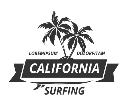 Surfing logo with palm tree. Exotic tropical nature, vector illustration