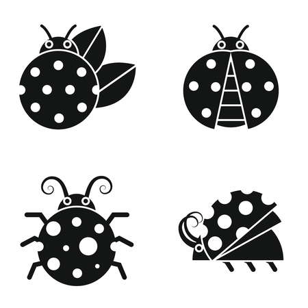 antena: Black silhouette ladybugs on white background. Ladybug in monochrome style. Vector illustration