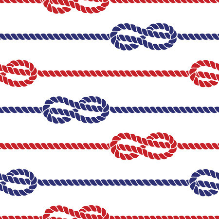 overhand: Nautical colored ropes with knots seamless pattern cable. Vector illustration Illustration