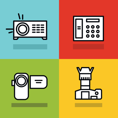 black stroke: Household appliances icons with black stroke on color background. Photo and video camera. Vector illustration Illustration
