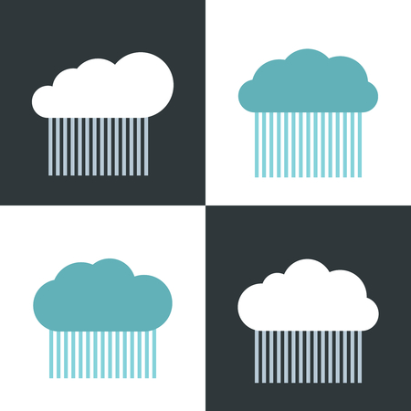 storm rain: Flat cloud icons with rain on white and dark background. Storm rain icon, vector illustration