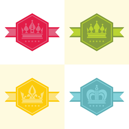 crown of light: Light crown icons in color hexagon. Design label with crown. Vector illustration