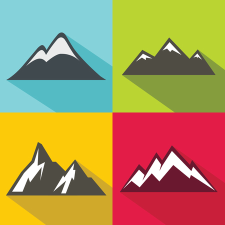 Mountain flat icons with long shadow on color background.  template for mountaineering. Vector illustration