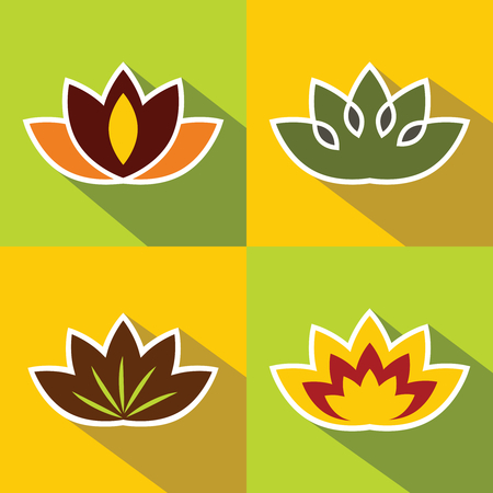 Color flat flowers with dark long shadow with white stroke. Vector illustration Illustration