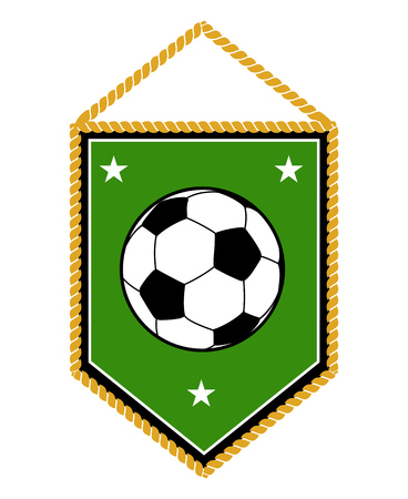 bannière football: Green soccer pennant isolated on white background. Football banner vector illustration