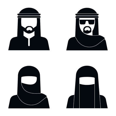 middle eastern: Middle Eastern people avatar in monochrome style design. Vector illustration