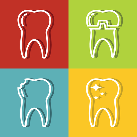 medical shower: Tooth white line icons on color background. Dental medicine and health care. Vector illustration