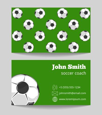 soccer coach: Soccer coach green field business card. Template of football card. Vector illustration Illustration