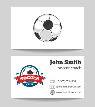 soccer coach: Soccer coach business card template with . Soccer sport game. Vector illustration Illustration