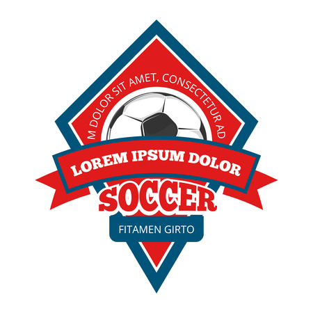 collegiate: Vector soccer , badge emblem template in red and blue for tournament to football illustration