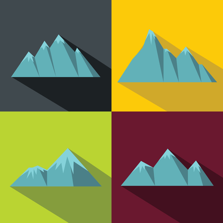 Mountain blue icons with long shadow on color background. Climbing logo with mountain. Vector illustration Illustration