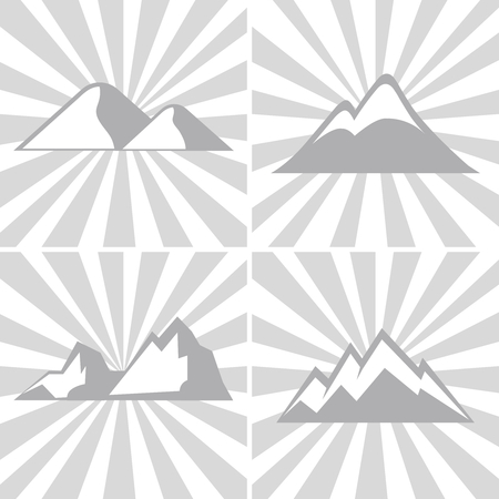 mountaineering: Mountain gray icons on striped background. Mountaineering and climbing emblems. Vector illustration
