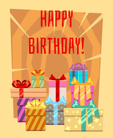 Happy birthday greeting card with a heap of gift boxes. Many gift surprise in package, vector illustration Illustration