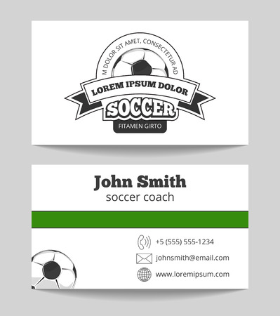 soccer coach: Soccer club business card template in green and white. Football coach card. Vector illustration
