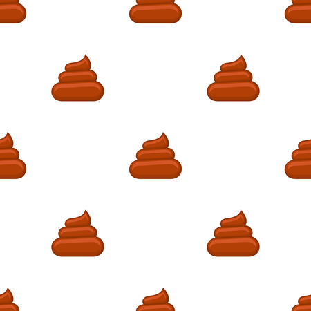Brown poos white background seamless pattern. Funny background, vector illustration