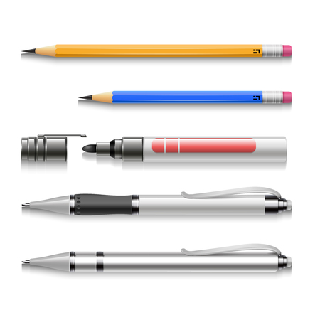 tip style design: Pens, pencils, markers, realistic vector set of writing tools. School supplies illustration Illustration