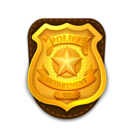 official: Gold realistic police, detective vector badge with shield. Icon police department illustration