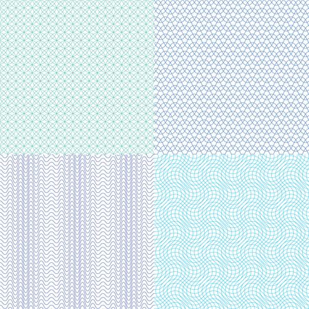Guilloche wavy vector textures for diplomas, currency, banknotes and vouchers. Structure continuity watermark illustration Illustration