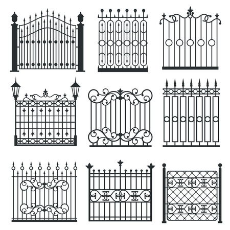 Metal iron gates, grilles, fences with ornamental antique pattern. Vector illustration