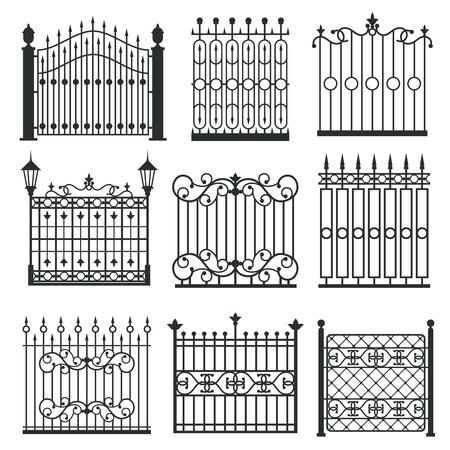 puertas de hierro: puertas de hierro de metal, rejas, cercas con patrón de antigüedades ornamentales. ilustración vectorial Vectores