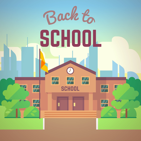 Back to school poster with school building, vector illustration in flat cartoon style