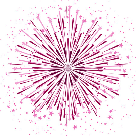 Vector background with anniversary bursting fireworks isolated on white backdrop. Festive star salute illustration