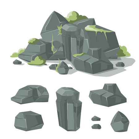 cobble: Stones and rocks cartoon nature boulder with grass and moss for game interface design. Vector illustration Illustration
