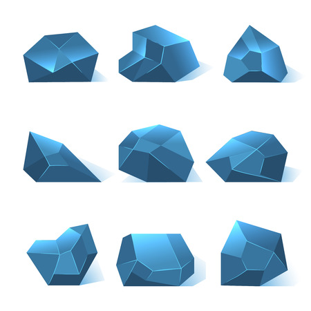 Ice rock pieces vector set. Nature crystal or mineral in blue color illustration