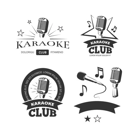 Vintage karaoke vocal party vector labels badges emblems. Logos template for karaoke club illustration 矢量图像