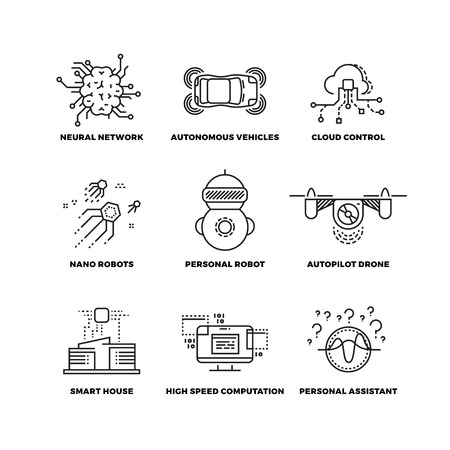 neural: Artificial intelligence ai robot thin line icons. Neural network and autonomous vehicle, cloud control and, autopilot drone. Vector illustration Illustration