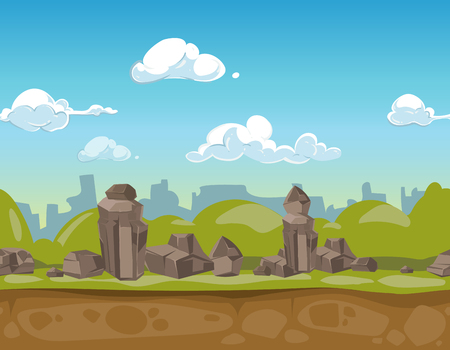 unending: Seamless cartoon park landscape rocky valley for ui game. Vector illustration
