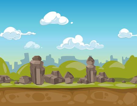 Seamless cartoon park landscape rocky valley for ui game. Vector illustration