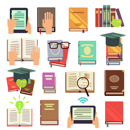 Library, books reading flat vector icons. Literature for study in school and university illustration