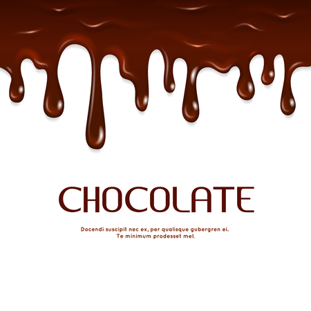 dripping chocolate: Melted dripping chocolate seamless vector. Sweet yummy milk chocolate illustration