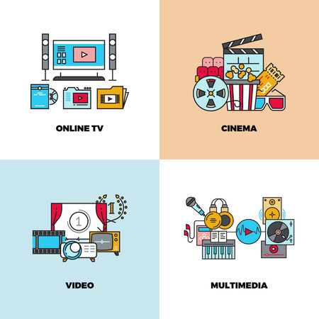 cinematograph: Entertainment, cinema, movie, video vector concept backgrounds. Online tv and multimedia illustration