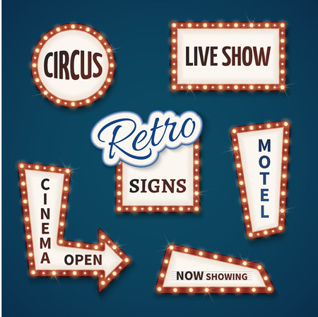 signboard form: Retro neon bulb signs for cinema and casino. Live show, open, circus, now showing, motel banners. Vector illustration