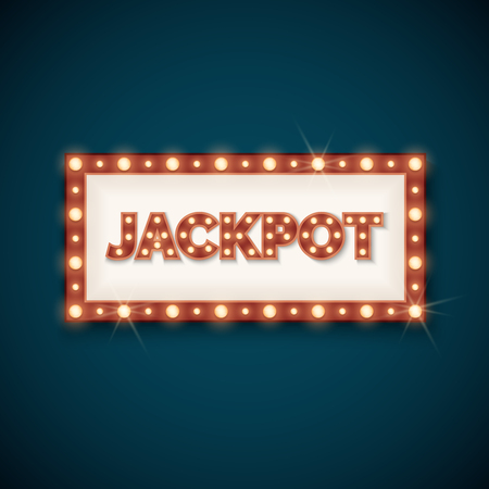 signboard form: Jackpot banner with retro luminous frame. Prize in gambling game. Vector illustration