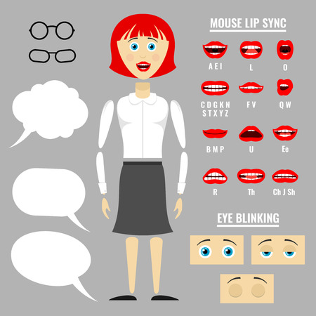Ready to animation vector parts of cartoon girl character. Lip movement during speech illustration