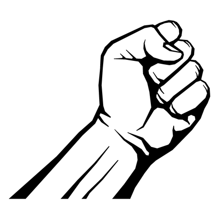 Raised fist isolated on white vector illustration. Symbol human hand of freedom and strength