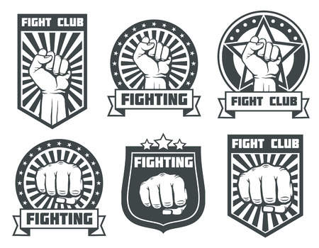 kickboxing: Fight club with fist vintage labels, logos, emblems vector set. Boxing sport, kickboxing logotype illustration
