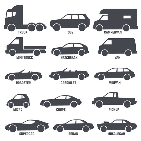 minivan: Car automobile types black vector icons isolated on white background. Hatchback and roadster, cabriolet and minivan illustration