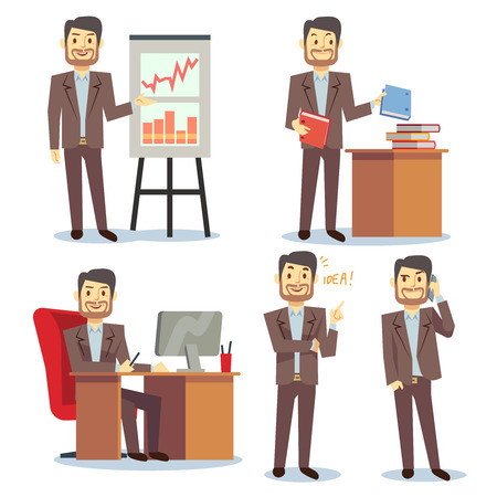 situations: Businessman in various situations in office vector business peoples cartoon flat set. Consultant showing and pointing to report illustration