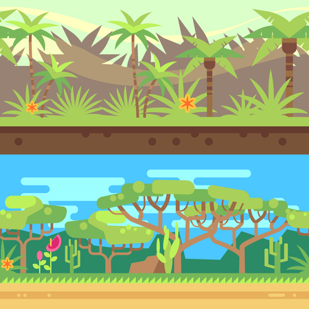 Horizontal seamless tropical forest jungle background in cartoon flat style. Outdoor nature with green tree, vector illustration Illustration