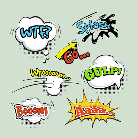 gulp: Comic sound effects cartoon vector set. Speech bubble and cloud boom illustration